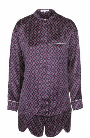 Шелковая пижама с мини-шортами Olivia Von Halle. Цвет: фиолетовый