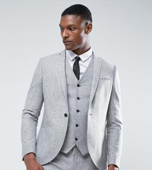 Noak Зауженный пиджак из донегаля в крапинку TALL. Цвет: серый