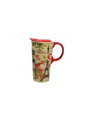 Кружка для чая/кофе Париж термо Русские подарки. Цвет: бежевый, красный