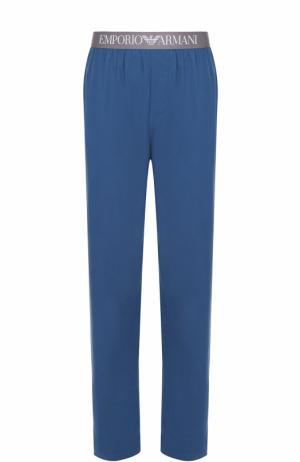 Хлопковые домашние брюки свободного кроя Emporio Armani. Цвет: синий