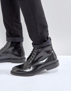 Zign Кожаные ботинки на шнуровке. Цвет: черный