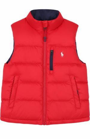 Пуховый жилет с логотипом бренда Polo Ralph Lauren. Цвет: красный