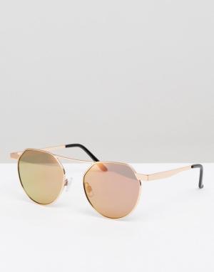 7X Круглые солнцезащитные очки с желтыми стеклами. Цвет: желтый