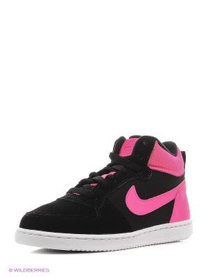 Кеды NIKE COURT BOROUGH MID (PS). Цвет: черный, розовый, белый