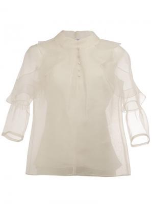 Блузка с рюшами на рукавах Oscar de la Renta. Цвет: белый