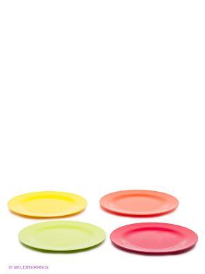 Набор салатных тарелок BBQ HOT SUMMER, 4 шт. Zak!designs. Цвет: желтый, оранжевый, розовый, салатовый