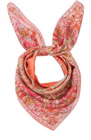 Шелковый платок с принтом Michele Binda. Цвет: коралловый