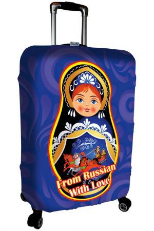 Чехол на чемодан SOVA COVER. Цвет: матрешка синяя