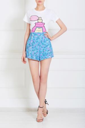 Хлопковые шорты Olympia Le-Tan. Цвет: голубой, кремовый, неоновый розовый