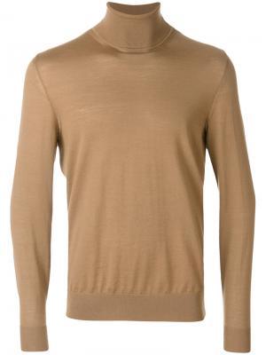 Джемпер с высоким горлом Z Zegna. Цвет: коричневый
