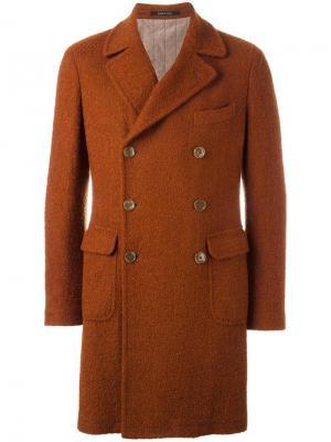 Двубортное пальто Tagliatore. Цвет: жёлтый и оранжевый