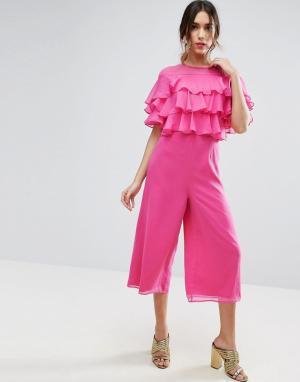 ASOS Комбинезон с юбкой‑шортами и оборками. Цвет: розовый
