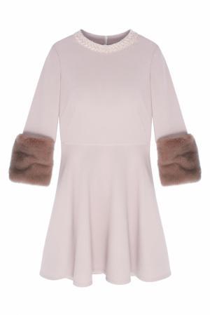 Платье с меховой отделкой NATALIA GART. Цвет: розовый