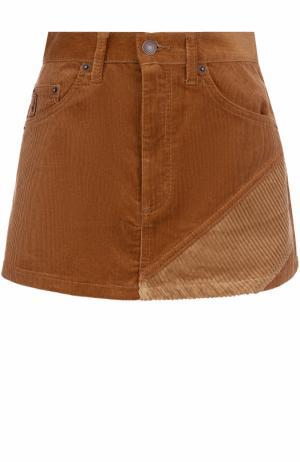 Вельветовая мини-юбка с карманами Marc Jacobs. Цвет: коричневый