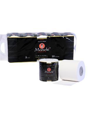 Бумага туалетная  B&W, 3 слоя, 30 м, с ароматом зеленого чая, 10 рул/упак Maneki. Цвет: белый