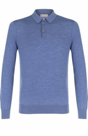Шерстяное поло с длинными рукавами Bilancioni. Цвет: голубой