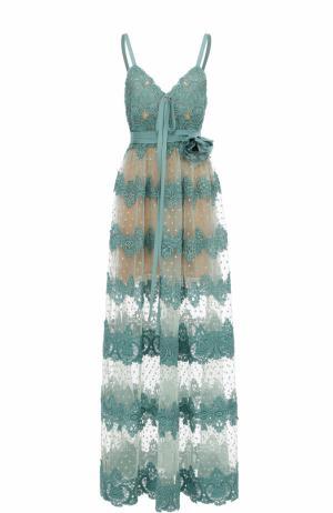 Платье-миди с кружевной отделкой и брошью Elie Saab. Цвет: голубой