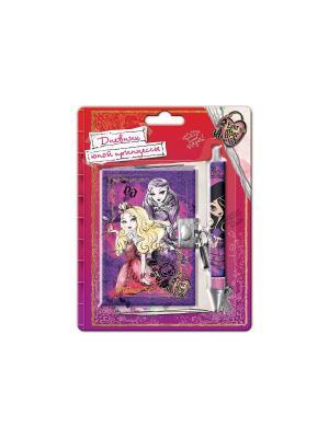 Набор: блокнот А6 на замке + ручка блистере Ever After High Mattel. Цвет: малиновый