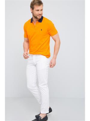 Футболка-поло U.S. Polo Assn.. Цвет: светло-оранжевый