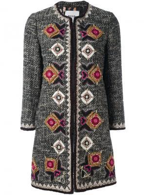 Твидовое пальто с геометрической вышивкой Bazar Deluxe. Цвет: чёрный