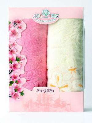 Набор махровых полотенец ромашки Домтекс. Цвет: белый, розовый
