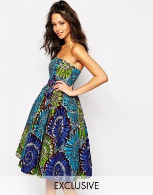 Sika Платье для выпускного с пышной юбкой без бретелек X ASOS. Цвет: фиолетовый с цветами