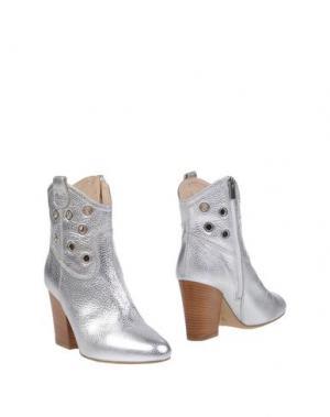 Полусапоги и высокие ботинки LORENZO MARI. Цвет: серебристый