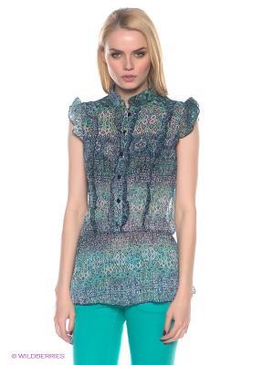 Блузка E.A.R.C.. Цвет: синий, зеленый
