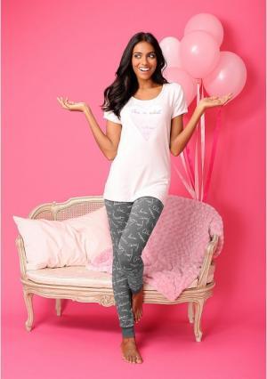 Пижамные брюки VIVANCE. Цвет: воздушные шарики, розовый надписи, серый надписи