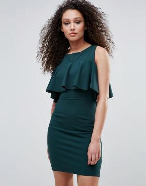 Wal G Платье с открытыми плечами и оборкой. Цвет: зеленый