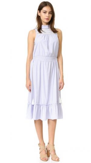 Платье с воротником-стойкой ENGLISH FACTORY. Цвет: белый/синий