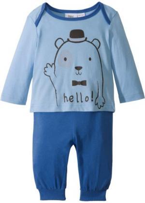 Для малышей: футболка с длинным рукавом + трикотажные брюки (2 изд.), биохлопок (голубой/ледниковый синий) bonprix. Цвет: голубой/ледниковый синий