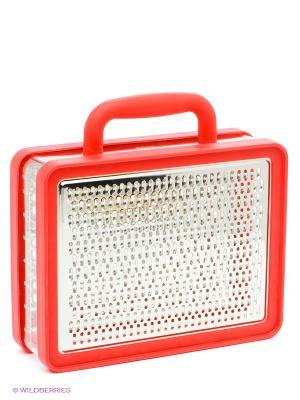 Терка с контейнером Briefcase Umbra. Цвет: красный, серебристый, прозрачный