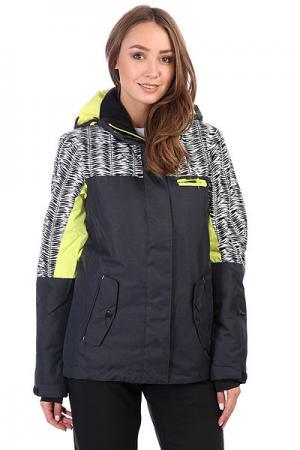 Куртка утепленная женская  Rx Jetty Blo True Black_savanna Roxy. Цвет: черный,желтый,белый