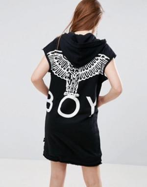 BOY London Худи удлиненного кроя с орлом на спине. Цвет: черный