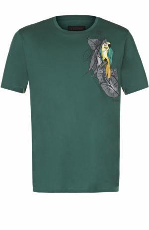 Хлопковая футболка с принтом Z Zegna. Цвет: зеленый