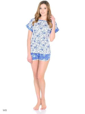 Комплект домашней одежды (футболка, шорты) HomeLike. Цвет: синий, белый