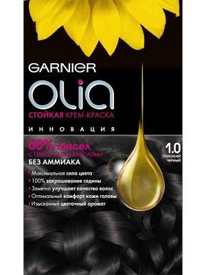 Стойкая крем-краска для волос Olia без аммиака, оттенок 1.0, Глубокий черный Garnier. Цвет: черный