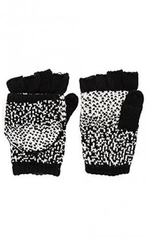 Текстурированные варежки в горошек омбре Plush. Цвет: black & white