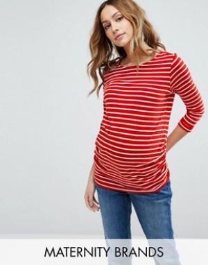New Look Maternity Футболка в полоску с рукавами 3/4 для беременных. Цвет: красный