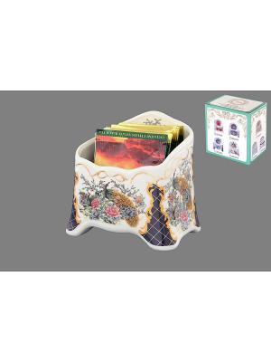 Подставка сервировочная для чайных пакетиков Павлин на золоте Elan Gallery. Цвет: белый, синий, золотистый