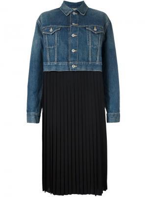 Плиссированное платье Junya Watanabe Comme Des Garçons. Цвет: синий