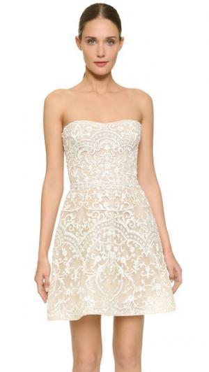 Мини-платье без бретелек с вышивкой Monique Lhuillier. Цвет: белый шелк/телесный