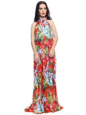 Платье TOPSANDTOPS. Цвет: зеленый, белый, красный