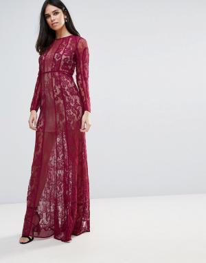 The Jetset Diaries Кружевное платье макси Yasmine. Цвет: красный