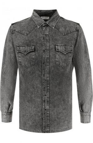 Джинсовая рубашка на кнопках с потертостями Saint Laurent. Цвет: серый