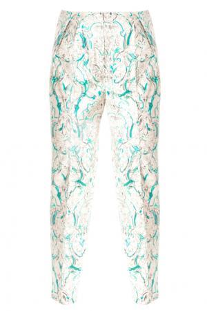 Хлопковые брюки с принтом Vika Gazinskaya. Цвет: зеленый