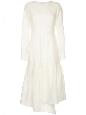 Асимметричное платье с оборкой Goen.J. Цвет: белый