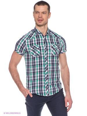 Рубашка Oodji. Цвет: зеленый, белый, темно-синий