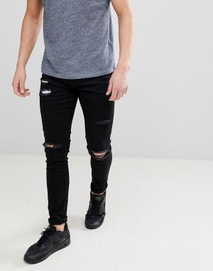 Ringspun Рваные супероблегающие джинсы. Цвет: черный